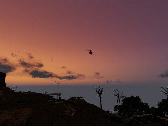 Heli Anflug im Morgenrot